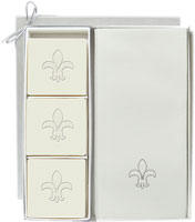 Carved Solutions - Guest Soap and Guest Towels (Fleur de Lys Icon)