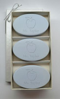 Personalized Soap Sets - Apple For Teacher - Wild Blue Lupin Trio
