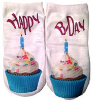 Just Gifts by Robin - Socks (Happy BD2 Cupcake)