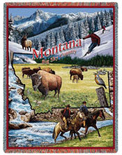 State Tapestry Throws - Montana