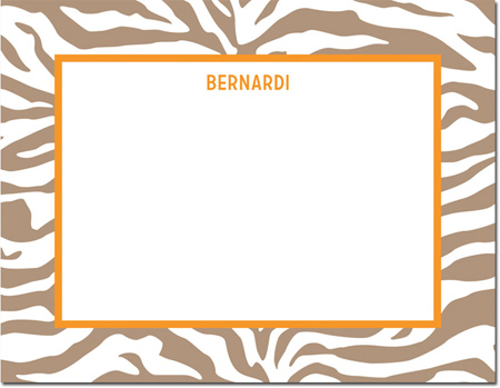 Boatman Geller - Create-Your-Own Personalized Stationery (Zebra - Sm. Flat Card)