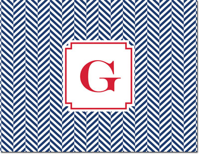 Boatman Geller - Create-Your-Own Personalized Stationery (Herringbone - Folded Note)