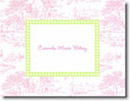 Boatman Geller Stationery - Pink Toile with Lime Check