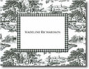 Boatman Geller Stationery - Black Toile with Check