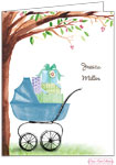 Bonnie Marcus Personalized Stationery/Thank You Notes - Beautiful Bassinet (Blue)