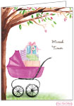 Bonnie Marcus Personalized Stationery/Thank You Notes - Beautiful Bassinet (Pink)