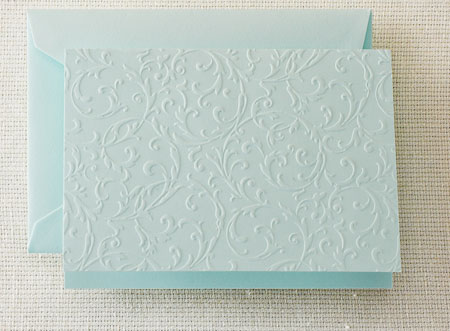 Crane Boxed Stationery Sets - Beach Glass Blind Embossed Note