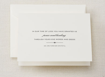 Crane Boxed Stationery Sets - Charcoal Hand Engraved Pearl White Sympathy Acknowledgement Note