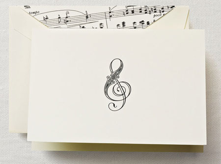Crane Boxed Stationery Sets - Treble Clef Note