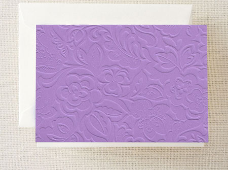 Crane Boxed Stationery Sets - Lilac Blind Embossed Note
