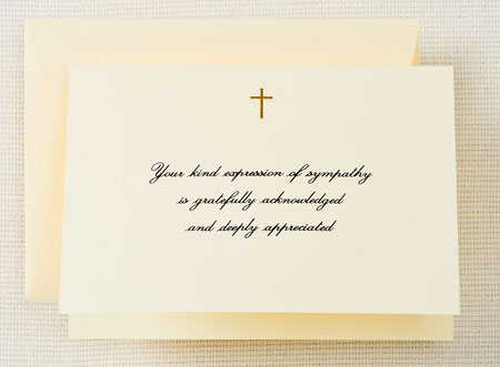 Crane Boxed Stationery Sets - Hand Engraved Gold Cross Sympathy Acknowledgement Note