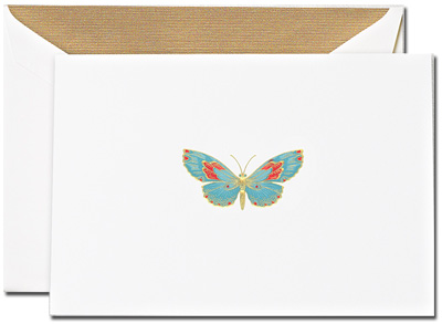 Crane Boxed Stationery Sets - Engraved Butterfly Note