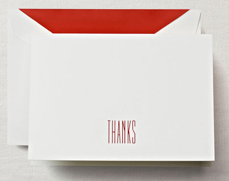 Crane Boxed Stationery Sets - Hand Engraved Red Thank You Note