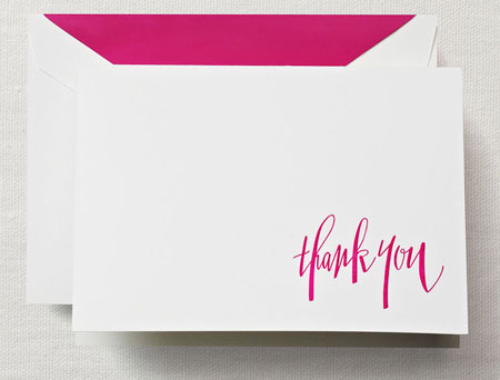 Crane Boxed Stationery Sets - Hand Engraved Raspberry Thank You Note