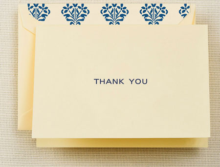 Crane Boxed Stationery Sets - Navy Thank You Note with Fashion Liner
