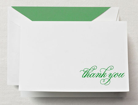 Crane Boxed Stationery Sets - Hand Engraved Spring Green Thank You Note