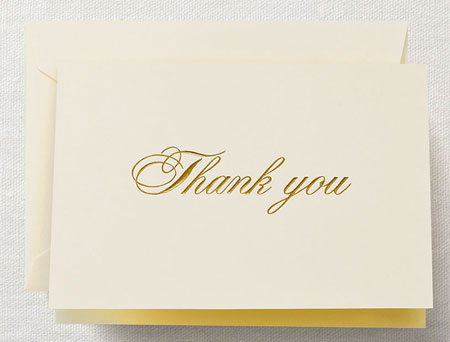Crane Boxed Stationery Sets - Gold Script Thank You Note