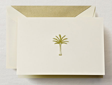 Crane Boxed Stationery Sets - Hand Engraved Palm Tree Note