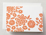 Crane Boxed Stationery Sets - Letterpress Zinnias Note