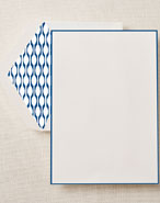 Crane Boxed Stationery Sets - Regent Blue Bordered Half Sheet with Fashion Liner