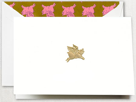 Crane Boxed Stationery Sets - Hand Engraved When Pigs Fly Note