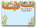 Dinky Designs Flat Note Stationery - Canoeing Kids