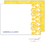 Modern Posh Stationery/Thank You Notes - Damask - Yellow