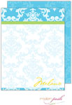 Modern Posh Stationery/Thank You Notes - Blue Damask Posh - Blue & Green