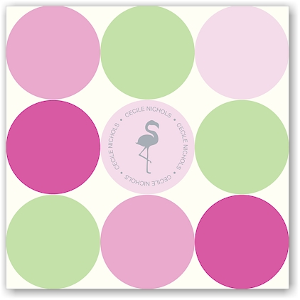Noteworthy - Faux Stamp Imprintables (Mint Pink Dots Folded Note)