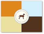 Noteworthy - Faux Stamp Imprintables (Orange on Brown Blocks Folded Note)