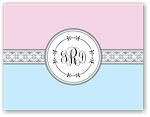 Noteworthy - Faux Stamp Imprintables (Baby Pink/Blue Medallions Folded Note)