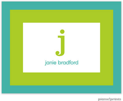 PicMe Prints - Stationery/Thank You Notes - Bold Bands Turquoise/Chartreuse (Folded)