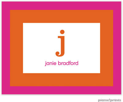 PicMe Prints - Stationery/Thank You Notes - Bold Bands Hot Pink/Tangerine (Folded)