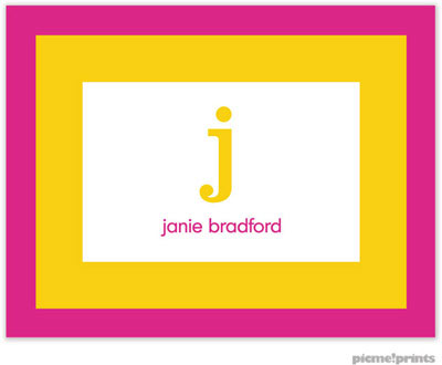 PicMe Prints - Stationery/Thank You Notes - Bold Bands Hot Pink/Sunshine (Folded)