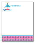 Polka Dot Pear Design - Correspondence Cards (Pink Sailboat)
