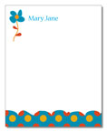 Polka Dot Pear Design - Correspondence Cards (Blue Flower)