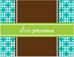 Prints Charming Note Cards/Stationery - Turquoise & Green Modern Chain (Folded)