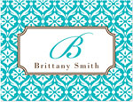 Prints Charming Note Cards/Stationery - Turquoise & Brown Lace Pattern (Folded)