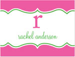 Prints Charming Note Cards/Stationery - Pink Decorative Band (Folded)
