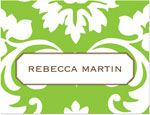 Prints Charming Note Cards/Stationery - Green Damask (Folded)