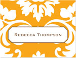 Prints Charming Note Cards/Stationery - Orange Damask (Folded)