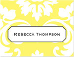 Prints Charming Note Cards/Stationery - Yellow Damask (Folded)