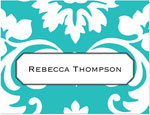 Prints Charming Note Cards/Stationery - Turquoise Damask (Folded)