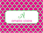 Prints Charming Note Cards/Stationery - Hot Pink & Green Greek Pattern (Folded)