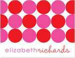 Prints Charming Note Cards/Stationery - Red & Pink Modern Circles (Folded)