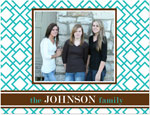 Prints Charming Note Cards/Stationery - Turquoise & Brown Geometric Print Photo (Folded)