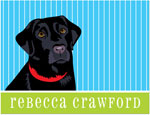 Prints Charming Note Cards/Stationery - Black Lab Pinstripe (Folded)