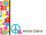 Prints Charming Note Cards/Stationery - Multi Color Floral Peace Sign (Flat)