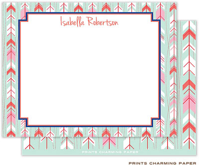 Prints Charming Note Cards/Stationery - Mint Arrows (Flat)