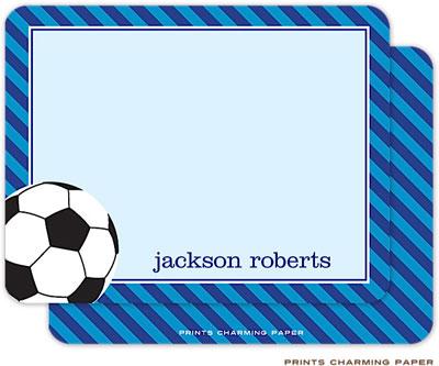 Prints Charming Note Cards/Stationery - Blue Stripe Soccer (Flat)